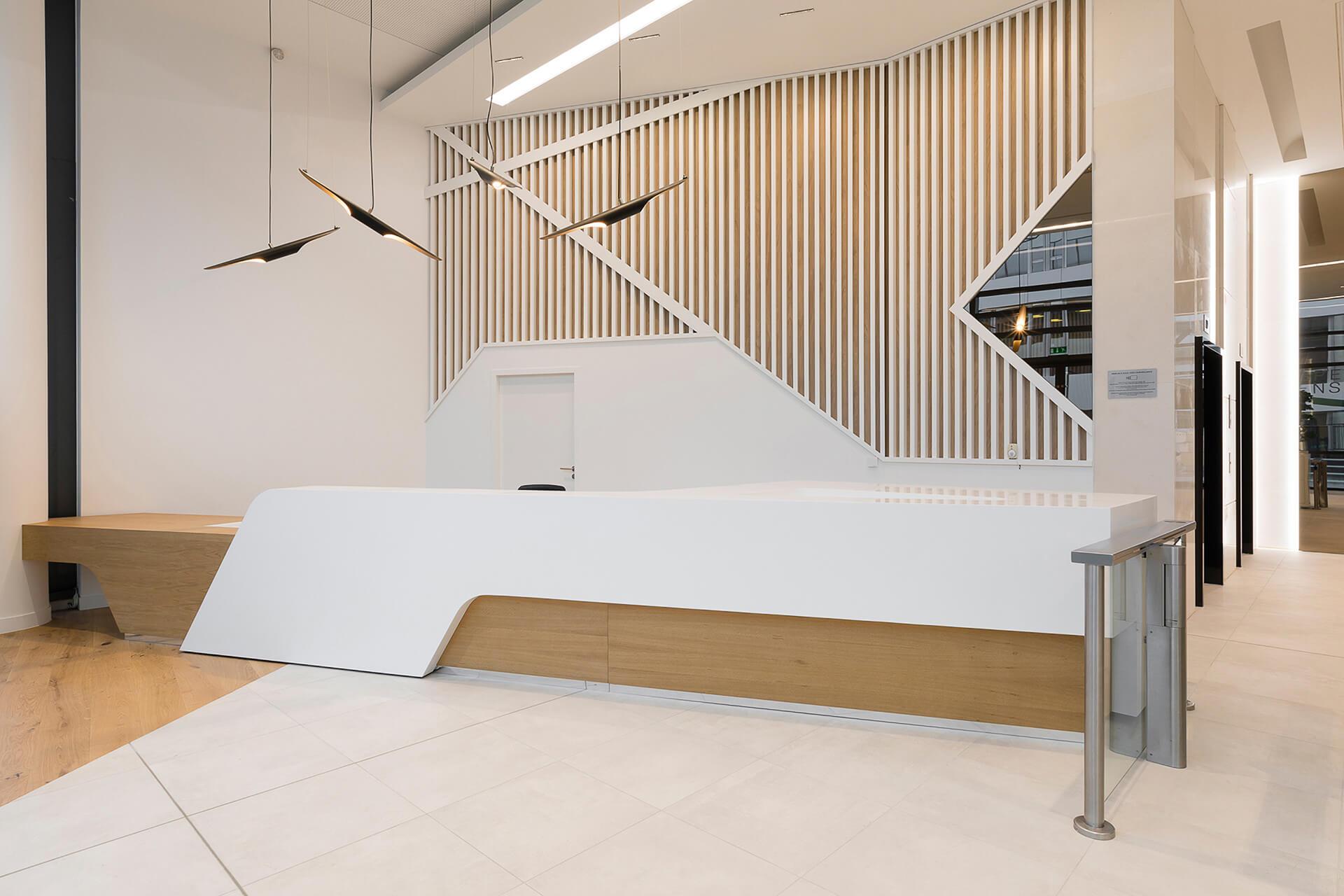 business center com mobiliario de escritório de luxo